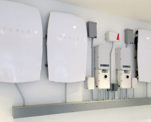 Tesla Powerwall Units for BONE Structure Net Zero Energy Efficiency