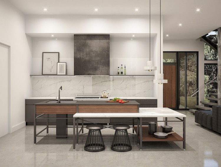A rendering of the kitchen.